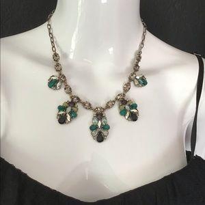 J. Crew Emerald & Smokey Crystal Necklace